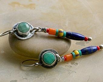 Primitive Colorful Tribal Earrings, Green Opal, Lapis, Trade Beads, Sterling Silver . Rustic Tribal Wabi Sabi Southwestern Boho Jewelry