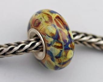 Unique Autumn Multi-hued Raku Bead  - Artisan Charm / Bracelet Bead (JUN-85)