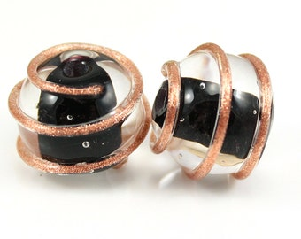 Made to Order, Black and Gold Pair, Lampwork Beads, Artisan Glass, SRA, Donna Trull