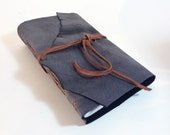 Gray Leather Journal Sketchbook out of rugged thick leather with lay flat pages