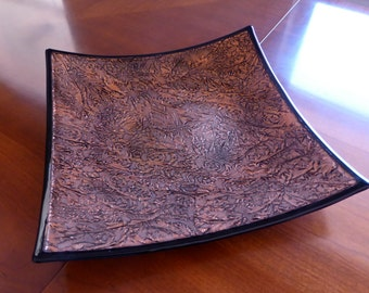 Fused Glass Plate in Copper and Black