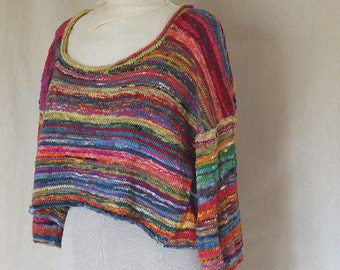magic multicolored hand spun Silk and Wool  -  Handmade knitted Pullover  - individually knitted by kathrin kneidl  -  OAK