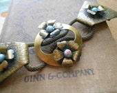 antique gold filled engraved monogram belt buckle - antique victorian jewelry accessories