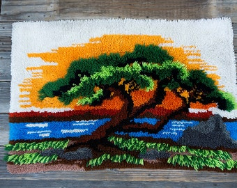 Vintage 1970's Latch Hook Shag Rug Sunset Ocean Tree
