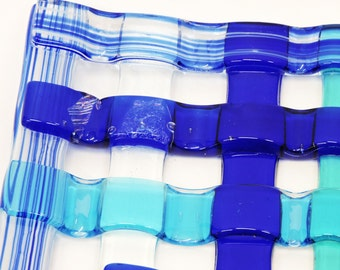 Fused glass, cobalt blue woven-look, turquoise blue, blue artglass, blue decor, blue glass, titled First Cruise