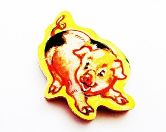 Pig Brooch - Pin / Upcycled 1960s Wood Hand Cut Puzzle Piece / Piglet Brooch / Yellow - Tan - Black Wood Brooch / Unique Gift Under 20