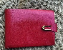 Little red wallet Red Amity Pigskin wallet, red bifold wallet, wallets and money clips, vintage wallet, leather wallet, retro wallet