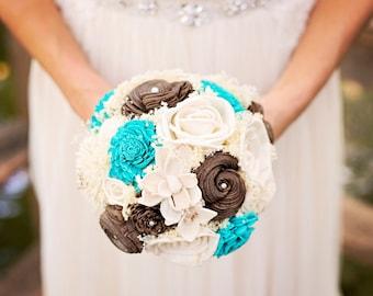 Aqua and Chocolate brown Wedding Bouquet - sola flowers - Customize colors - Alternative bridal bouquet - bridesmaids bouquet