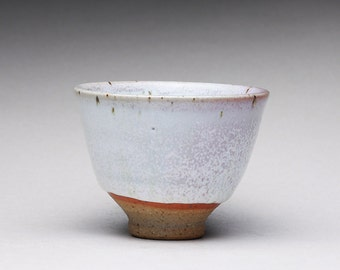 handmade ceramic sake cup, pottery teacup, espresso cup with white wood ash glazes