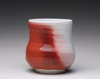 handmade porcelain cup, ceramic tumbler, pottery teacup with bright red and turquoise celadon glazes