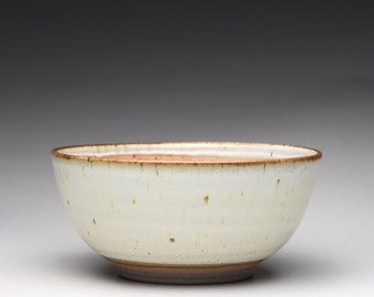 handmade pottery bowl, ceramic serving bowl, satin white bowl with orange shino glazes