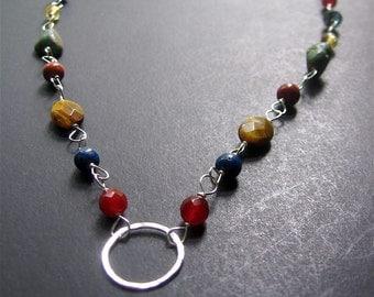Multistone Circle Necklace, Autumn Gemstone Necklace, Boho Necklace, Southwest Necklace