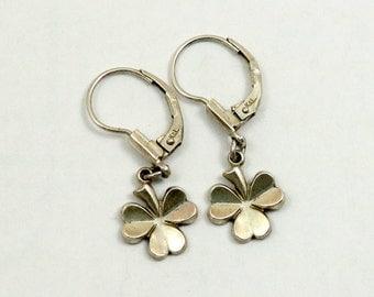 Vintage Shamrock Earrings, Sterling Silver, Signed K&L, Kordes Lichtenfels, Germany