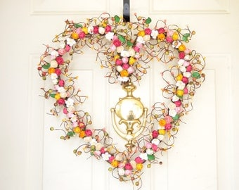 Kitchen wreath Heart wreath Pink, Yellow, & Cream paper roses Spring Summer wreath Year round decor Front door wreath Grandmas Kitchen