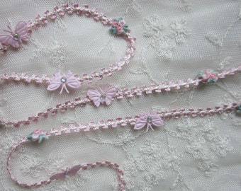 Rose Bud Flower Pink Woven Ribbon Trim w Rhinestone Satin Butterfly Scrapbook Baby Quilt