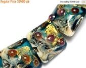 ON SALE 30% OFF Seven Teal Treasure Ii Pillow Beads -10410404-Handmade Glass Lampwork Bead