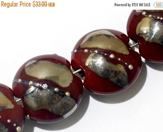 ON SALE 50% OFF Four Regal Red Metallic Lentil Beads - Silver - Handmade Glass Lampwork Bead Set 10704212