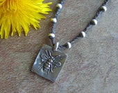 Pewter Honey Bee Pendant Braided Waxed Linen Necklace