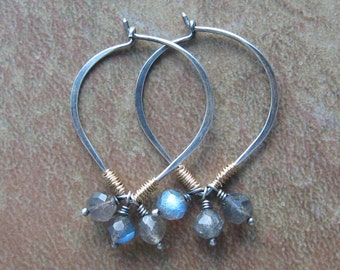 Sterling Silver and 14K Gold Fill Wire Wrapped Labradorite Cluster Petal Hoop Earrings-Mixed Metal Earrings-Labradorite Cluster Earrings