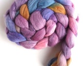 Finn Wool Roving - Hand Painted Spinning or Felting Fiber, Plum Clouds