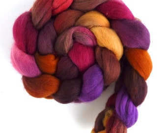 Corriedale Wool Roving - Hand Painted Spinning or Felting Fiber, Hot and Dry