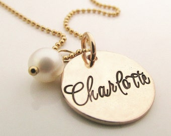Personalized Necklace with Name - Sweet - Gold Name Necklace - gold filled hand stamped jewelry -