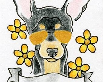 Chihuahua Art, miniature personalized dog art, Chihuahua ACEO, Dog ACEO, dog drawing, colorful dog artwork, Dog Lover Gift