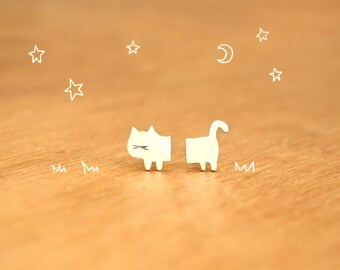 Tiny Half Cat- Stud Kitties Earrings- Sterling Silver - Cat lover gift