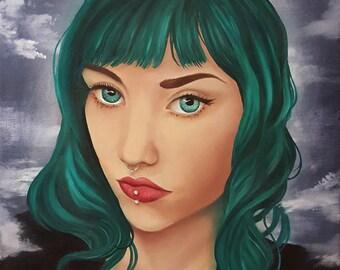 The Oracle, Open Edition fine art print, alt goddess, alternative deity, green hair, septum and lip piercings