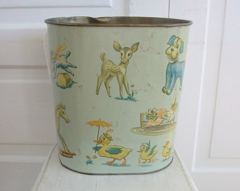 Vintage Nursery Trash Can, Metal Trash Can, Child Trash Can, Deer Waste Basket, Animals Giraffe Waste Basket