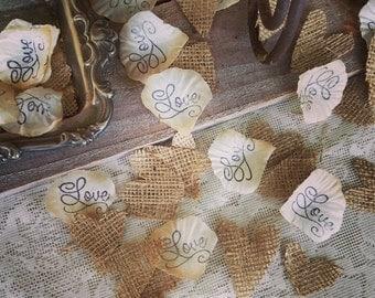 Flower Girl Basket petals, Burlap wedding Confetti, Burlap Decor, Aisle rose petals, Wedding Rose Petals, Petal Decorations,  Love