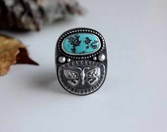 Tranformation Relic Ring….Sterling silver, turquoise, butterfly ring, size 8.25