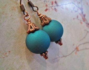 Teal Blue Green Copper Earrings, Antique Copper Earrings