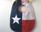Texas Baby Gift - Texas Flag - Austin, Houston, San Antonio, Dallas Baby Gift - Lone Star State Baby Shower Gift - Toddler Bib with Snaps