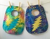 Tie Dyed Baby Gift - Grateful Dead Baby Bib - 13 Point Lightning Bolt - Tie-Dyed Baby Bib - Hippie Baby Shower Gift - Deadhead Baby Shower