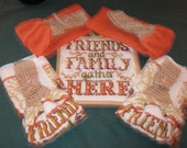 4 Kitchen Crochet hanging towels potholder Friends & Family gather here tan top