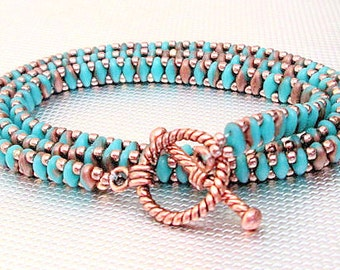 turquoise wrap bracelet turquoise and copper beaded bracelet boho bracelet stackable bracelet hippie bracelet southwestern jewelry super duo