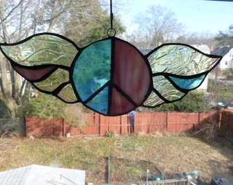 Enchanting Winged Peace sign  Stained glass Light Sun Catcher Passionate iridescent Pink and Blue