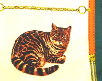 Exotic vintage 80s long silk scarf with  a  six , different cats print. Made by Adrienne Vittadini.