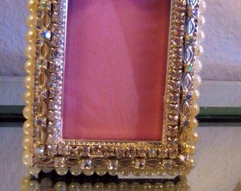 5x7 Jeweled Silver Plated Frame Swarovski Crystals & Pearls