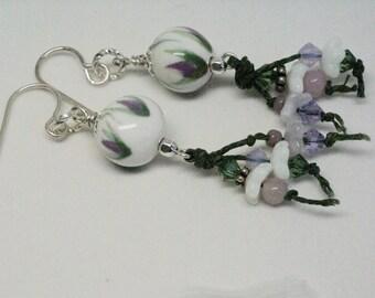 Secret Garden Earrings, Boho Floral Earrings, Lavender Earrings, Long Flower Earrings, Purple and Green Earrings, Pretty Gift for Gardener