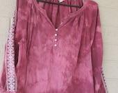burgundy cotton gypsy blouse, upcycled tie dye XXL, burnout effect