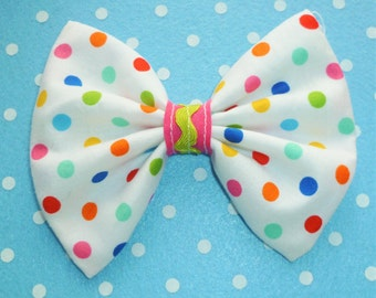 SALE Kawaii bright coloured Dot Hair Bow Clip with green and pink middle