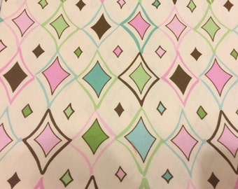 Diamond shaped fabric | Cotton Twill fabric | Pink Blue Green Brown White