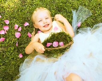 Barefoot Flower Girl Baskets, Wild Honeysuckle Twig Basket, Moss Lined Basket, Elongated EH