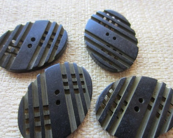 Vintage Buttons - 1940-1950's novelty celluloid, lot of 4 large oval laser cut( feb 148b)