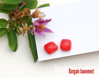 248 Fused glass earrings, red, pimento red, clear