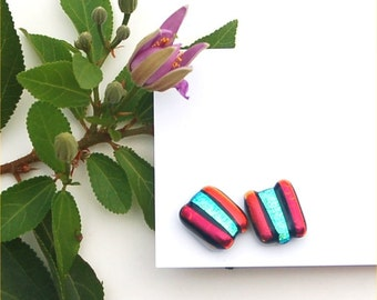 244 Fused dichroic glass earrings, rectangle,red and a green gold crinckle, stripes