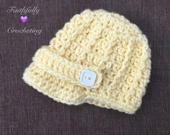 Newborn hat.. Brim hat.. Newsboy hat.. Photography prop.. Ready to ship...pale yellow