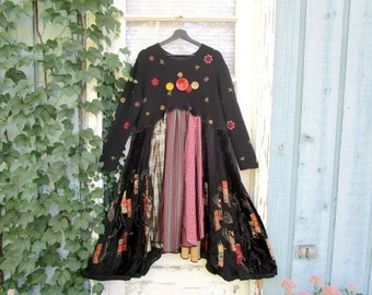 Embroidered Black Multi Color Bohemian Reconstructed Long Dress// Lg-XL-1X// emmevielle